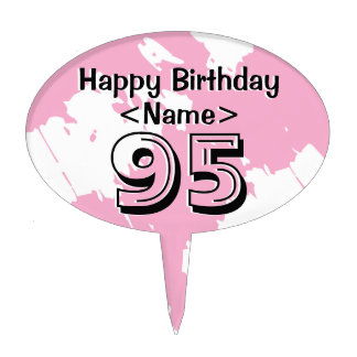 Personalized 95th Birthday Cake Topper Pink Decor