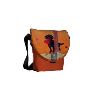 Personalized Autumn Color Black Labrador Messenger Bags