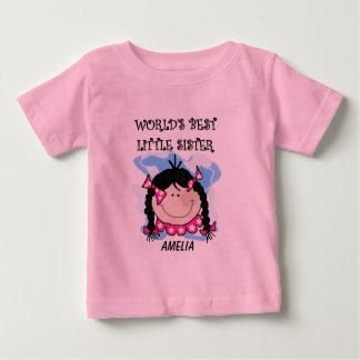 Personalized Black Hair Best Little Sister Tshirt