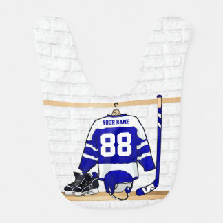 Personalized Blue and White Ice Hockey Jersey Bibs