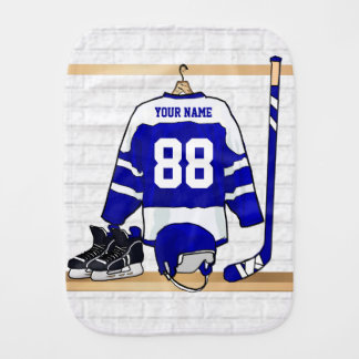 Personalized Blue and White Ice Hockey Jersey Burp Cloth