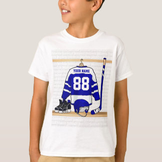 Personalized Blue and White Ice Hockey Jersey Tee Shirt