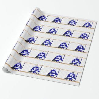 Personalized Blue and White Ice Hockey Jersey Wrapping Paper