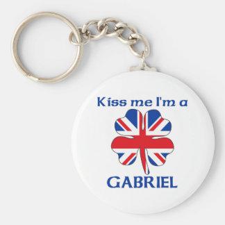 Personalized British Kiss Me I'm Gabriel Basic Round Button Key Ring