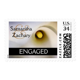 Personalized Calla Lily Engaged Postage Stamps