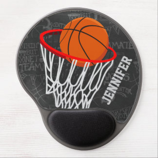 Personalized Chalkboard Basketball and Hoop Gel Mouse Pad