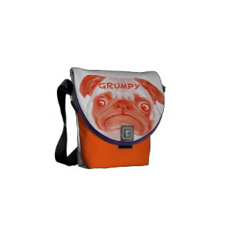 Personalized Coral Orange Grumpy Puggy Messenger Bags