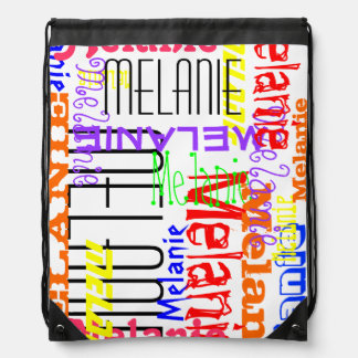 Personalized Custom Name Collage Colorful Drawstring Backpacks