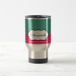 Personalized Cute White Polkadots Teal Pink Stripe Stainless Steel Travel Mug