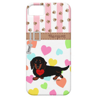 Personalized Dachshund Long Haired Black and Tan iPhone 5 Cases