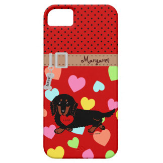 Personalized Dachshund Long Haired Black and Tan iPhone 5 Covers