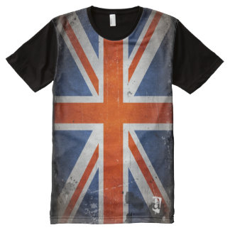 Personalized Designer Vintage Grunge UK Flag All-Over Print T-Shirt