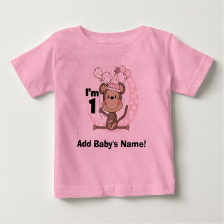 Personalized Girl Monkey in Party Hat 1st Birthday T-shirts