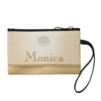 Personalized Gold Linen Printed Clutches Coin Wallet
