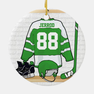 Personalized Green and White Ice Hockey Jersey Round Ceramic Decoration