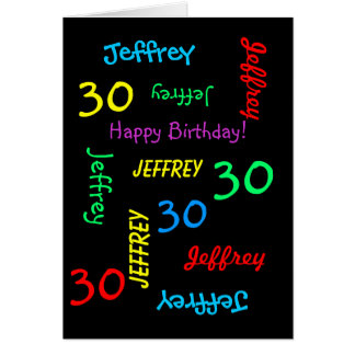 Personalized Greeting Card 30th Birthday, Black