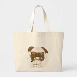 Personalized Grumpy AFICIONADO Puggy Cigar Jumbo Tote Bag