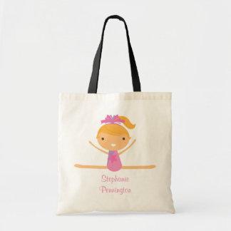 Personalized gymnastics reusable canvas tote bag