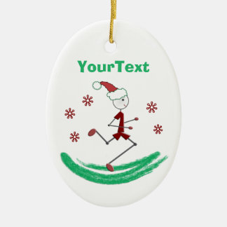 PERSONALIZED Holiday Stick Runner Guy Ceramic Oval Decoration