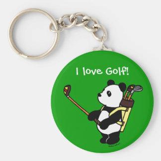 Personalized Kawaii Panda Golfer Basic Round Button Key Ring