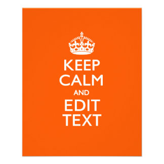 Personalized KEEP CALM AND Edit Text on Orange 11.5 Cm X 14 Cm Flyer