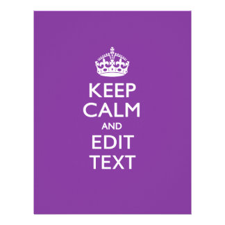 Personalized KEEP CALM AND Edit Text on Purple 21.5 Cm X 28 Cm Flyer
