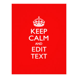 Personalized KEEP CALM AND Edit Text on Red 21.5 Cm X 28 Cm Flyer