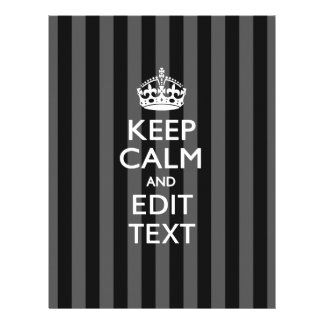 Personalized KEEP CALM Your Text on Black Stripes 21.5 Cm X 28 Cm Flyer