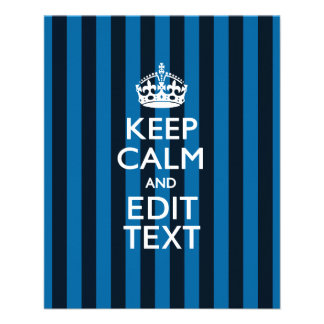 Personalized KEEP CALM Your Text on Blue Stripes 11.5 Cm X 14 Cm Flyer