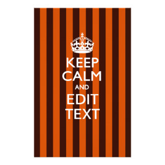 Personalized KEEP CALM Your Text on Orange Stripes 14 Cm X 21.5 Cm Flyer