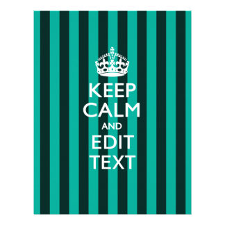 Personalized KEEP CALM Your Text Turquoise Stripes 21.5 Cm X 28 Cm Flyer