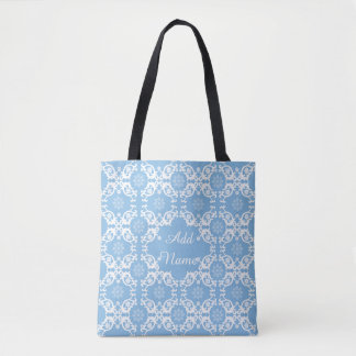 Personalized Light Blue White Lace Tote Bag