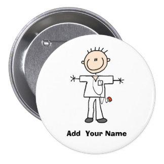 Personalized Male Stick Figure Nurse  Button
