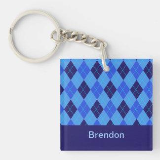Personalized monogram B boys name blue argyle Double-Sided Square Acrylic Key Ring