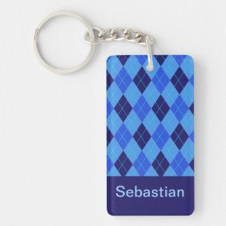 Personalized monogram S boys name blue argyle Double-Sided Rectangular Acrylic Key Ring