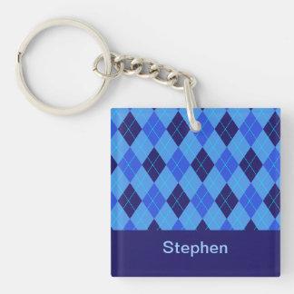Personalized monogram S boys name blue argyle Double-Sided Square Acrylic Key Ring