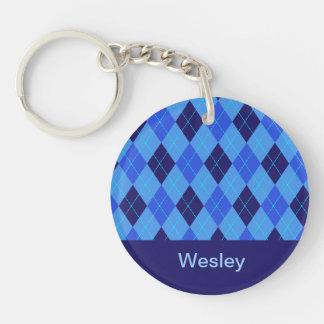 Personalized monogram W boys name blue argyle Double-Sided Round Acrylic Key Ring