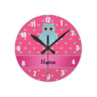 Personalized name bling owl diamonds pink hearts wallclock