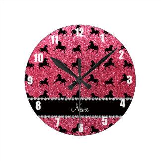 Personalized name fuchsia pink glitter horses wallclock