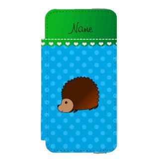 Personalized name hedgehog sky blue polka dots incipio watson™ iPhone 5 wallet case