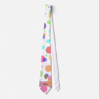 Personalized name monkey rainbow polka dots tie