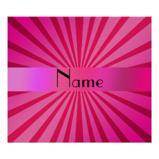 Personalized name pink sunburst poster