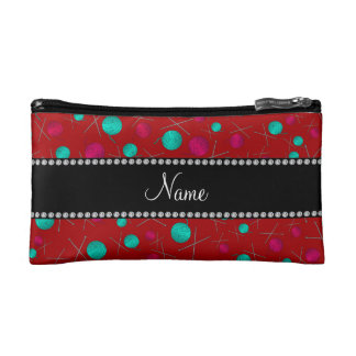 Personalized name red knitting pattern cosmetic bags