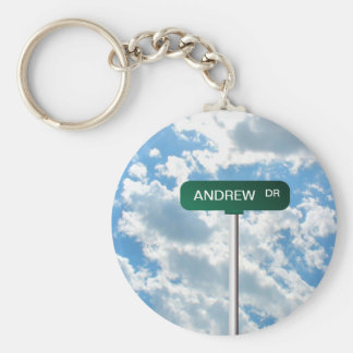 Personalized Name Road Street Sign on Blue Sky Basic Round Button Key Ring