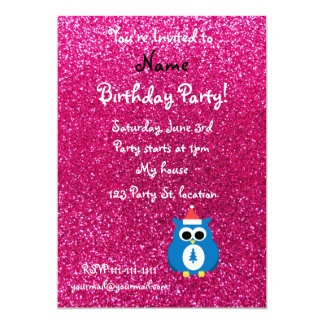 Personalized name santa owl pink glitter 13 cm x 18 cm invitation card
