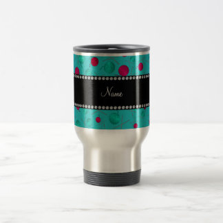 Personalized name turquoise knitting pattern stainless steel travel mug