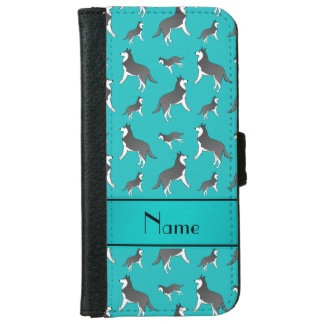 Personalized name turquoise siberian husky dogs iPhone 6 wallet case