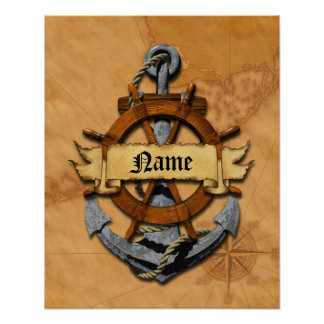 Personalized Nautical Anchor And Wheel Poster
