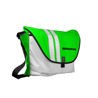 Personalized Neon Green Racing Stripe Messenger Messenger Bag