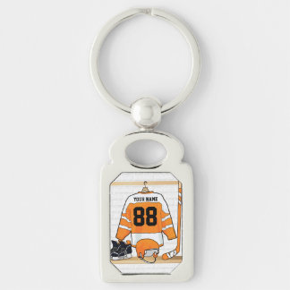 Personalized Orange and White Ice Hockey Jersey Silver-Colored Rectangle Key Ring